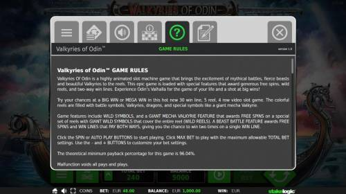 Valkyries of Odin Review Slots General Game Rules - The theoretical average return to player (RTP) is 96.04%.