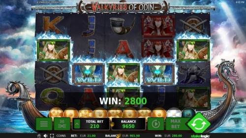 Valkyries of Odin Review Slots A 2800 credit big win triggered by multiple winning paylines