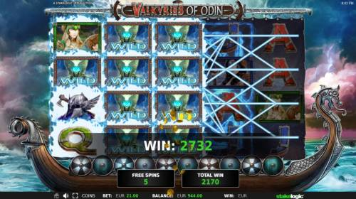 Valkyries of Odin Review Slots Stacked wilds triggers multiple winning symbol combinations leading to a 2732 coin jackpot
