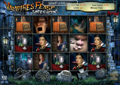 Vampires Feast Super Spin Review Slots Main game board featuring five reels and 20 paylines with a $10,000 max payout