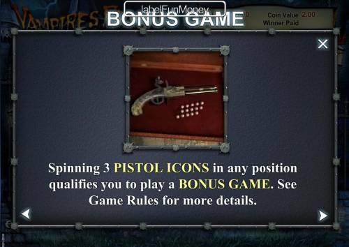 Vampires Feast Super Spin Review Slots Spinning 3 pistol icons in any position qualifies you to play a Bonus Game.