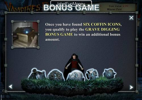 Vampires Feast Super Spin Review Slots Find 6 coffins icons and you qualify to play the Grave Digging Bonus Game.