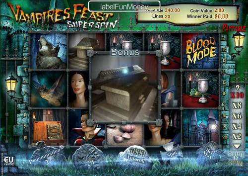 Vampires Feast Super Spin Review Slots Find 6 coffins symbols during game play to qualify to play the Grave Digging Bonus Game.
