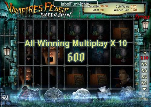 Vampires Feast Super Spin Review Slots A 600 coin big win is awarded.