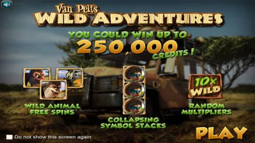 Van Pelts Wild Adventures Review Slots Game features include: Wild Animal Free Spins, Collapsing Symbol Stacks, Random Wild Multiplier and A chance to win up to 250,000 credits