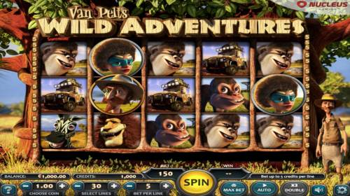 Van Pelts Wild Adventures Review Slots Main game board featuring five reels and 30 paylines with a $250,000 max payout.