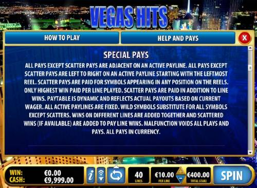 Vegas Hits Review Slots speical pays