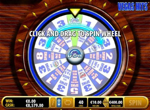 Vegas Hits Review Slots bonus feature game board - click and drag to spin wheel
