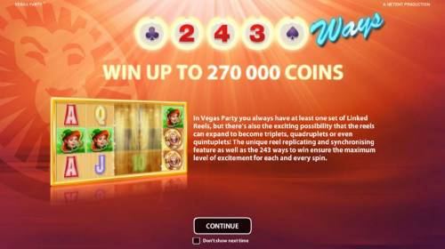 Vegas Party Review Slots Win up to 270,000 coins.