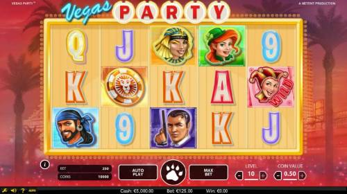 Vegas Party Review Slots Main game board featuring five reels and 243 ways to win with a $135,000 max payout