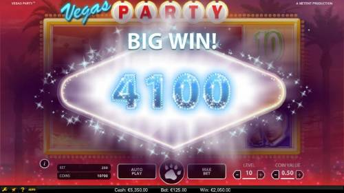 Vegas Party Review Slots Quadrupled linked reels triggers a 4100 coins super win.