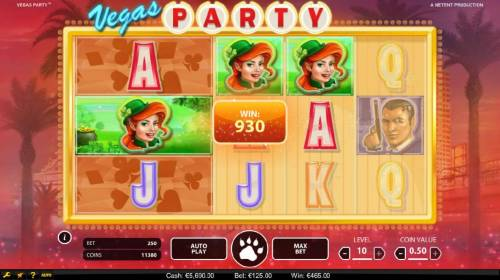 Vegas Party Review Slots Reels one and two are linked and tigger a 930 payout.