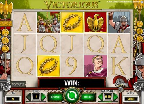 Victorious Review Slots main game board featuring five reels, 243 ways and a chance to win up to $7,500