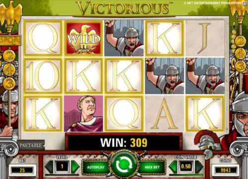 Victorious Review Slots multiple winning paylines triggers a 309 big win payout