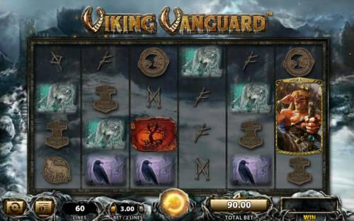 Viking Vanguard Review Slots Main game board featuring five reels and 60 paylines with a $250,000 max payout