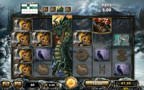Viking Vanguard Review Slots An expanded wild triggers multiple winning paylines during base game play.