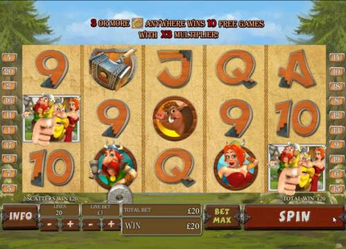 Viking Mania Review Slots two scatter symbols trigger payout