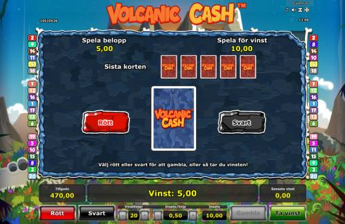 Volcanic Cash Review Slots Red or Black Gamble feature