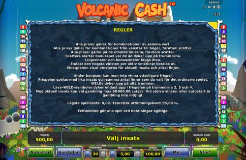Volcanic Cash Review Slots General Game Rules