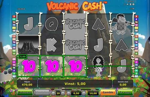 Volcanic Cash Review Slots A winning three of a kind