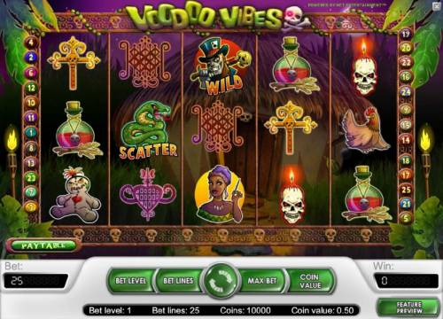 Voodoo Vibes Review Slots main game board featuring five reels and 25 paylines