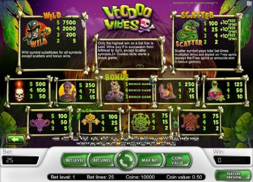 Voodoo Vibes Review Slots wild, scatter, bonus and slot game symbols paytable with rules