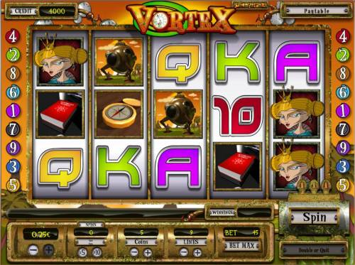 Vortex Review Slots Main game board featuring five reels and 9 paylines with a $6,250 max payout.