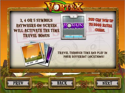 Vortex Review Slots 3 or more bonus symbols anywhere on screen will activate the time travel bonus.