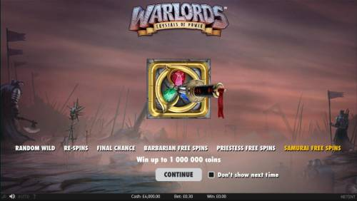 Warlords Crystals of Power Review Slots Game features include: Random Wild, Re-Spins, Final Chance, Barbarian Free Spins, Priestess Free Spins, and Samurai Free Spins