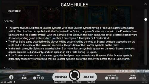 Warlords Crystals of Power Review Slots Scatter Symbol Rules