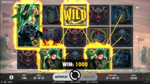 Warlords Crystals of Power Review Slots A 1000 coin payout triggered by a Four of a Kind.