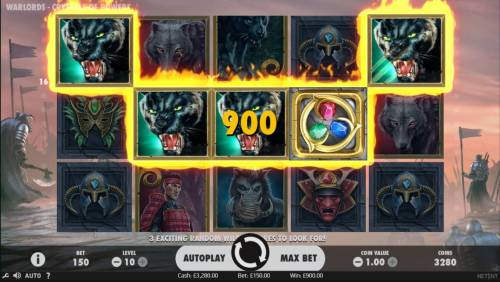 Warlords Crystals of Power Review Slots A winning Five of a Kind leads to a 900 coin payout.