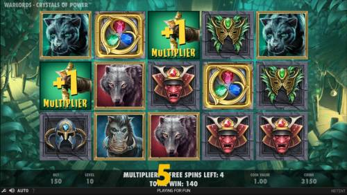 Warlords Crystals of Power Review Slots Earn extra free spins for every scatter symbols that lands on the reels during the Free Spins feature.