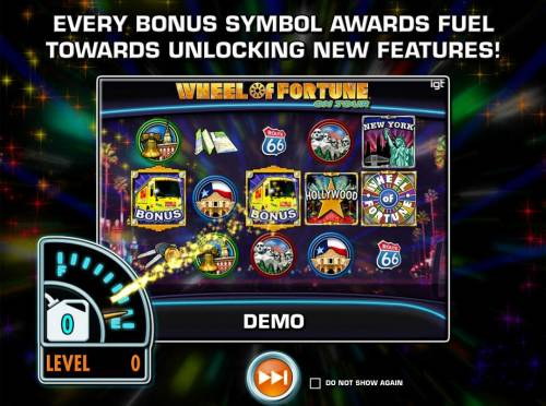 Wheel of Fortune on Tour Review Slots Every bonus symbol awards fuel towards unlocking new features!