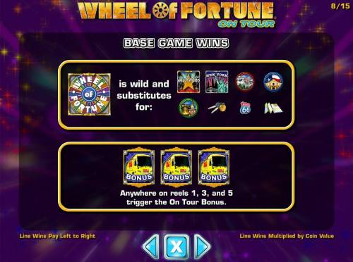 Wheel of Fortune on Tour Review Slots Base Game Wins - Wild and Scatter symbols