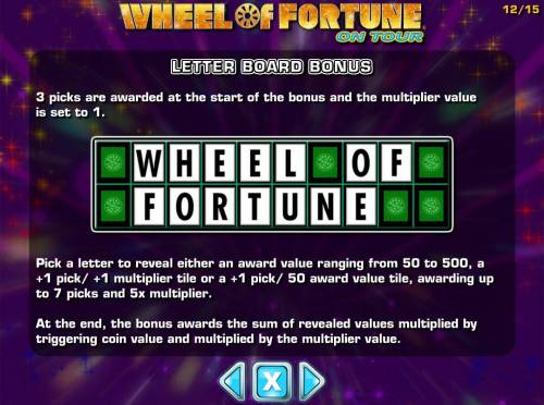 Wheel of Fortune on Tour Review Slots Letter Board Bonus Game