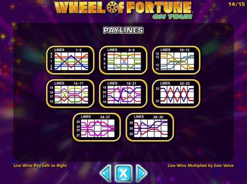 Wheel of Fortune on Tour Review Slots Payline Diagrams 1-30