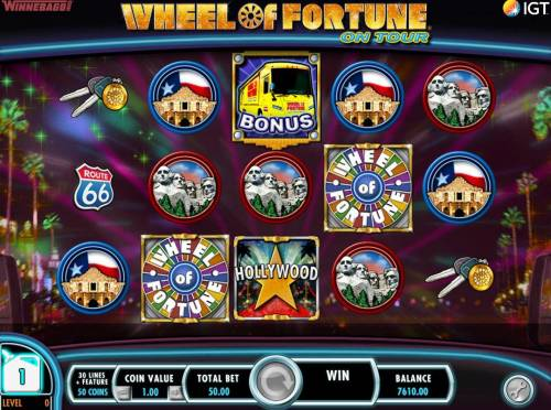 Wheel of Fortune on Tour Review Slots Collect fule points for every bonus symbol on screen that is not part of a winning combination.