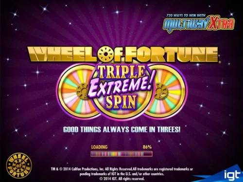 Wheel of Fortune Triple Extreme Spin Review Slots Splash screen - game loading - Good things always come in threes