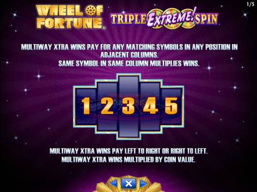 Wheel of Fortune Triple Extreme Spin Review Slots Multiway Xtra wins pay for any matching symbols in any position inadjacent columns. Same symbol in same column multiplies wins. Multiway Xtra wins pay left to right and right to left.