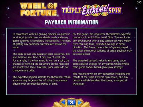 Wheel of Fortune Triple Extreme Spin Review Slots Payback Information - The RTP for this game is 92.00% to 96.08%