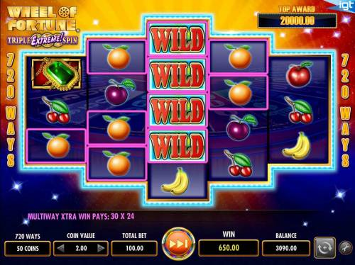 Wheel of Fortune Triple Extreme Spin Review Slots Multiple winning combinations triggers a 650.00 big win!