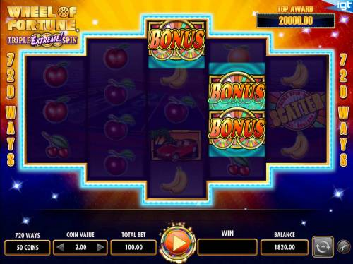 Wheel of Fortune Triple Extreme Spin Review Slots Three wheel bonus symbols triggers the Triple Extreme Spin bonus feature.