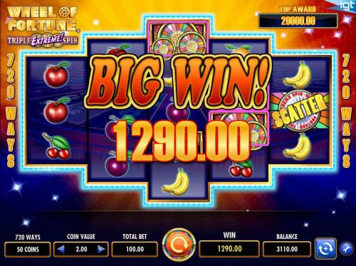 Wheel of Fortune Triple Extreme Spin Review Slots A 1290.00 big win paid out for playing the Triple Extreme Spin bonus feature.