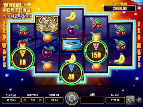 Wheel of Fortune Triple Extreme Spin Review Slots Collect prize awards after wheels stop spiining.