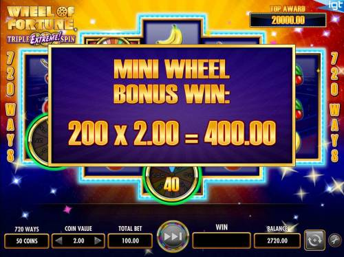 Wheel of Fortune Triple Extreme Spin Review Slots Mini Wheel Bonus pays out a total of 400.00