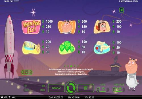 When Pigs Fly Review Slots High value slot game symbols paytable