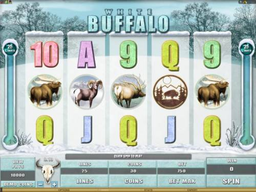 White Buffalo Review Slots main game board featuring 5 reels and 25 paylines