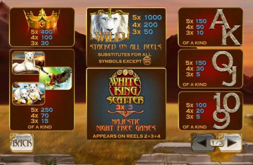 White King Review Slots Slot game symbols paytable. The White Lion Wild is the highest value symbol on the game board. A five of a kind will pay 1,000 coins.