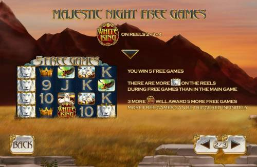 White King Review Slots Majestic Night Free Games are tirggered by the White King logo symbol on reels 2, 3 and 4